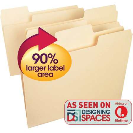 Smead Supertab  File Folder  Oversized 1 3 Cut Tab  Letter Size  Manila  100 Per Box  10301