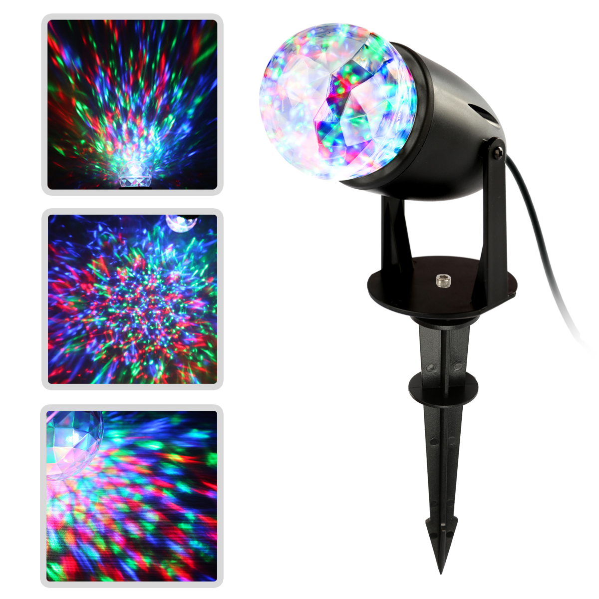 1 Pc Waterproof Magical Spotlight Rotating Led Projector Light Night Light with Water Ripple Effects for Party Outdoor Holiday & Home, Garden, Mood Lamp for Baby Kids, Bedroom (Colorful)
