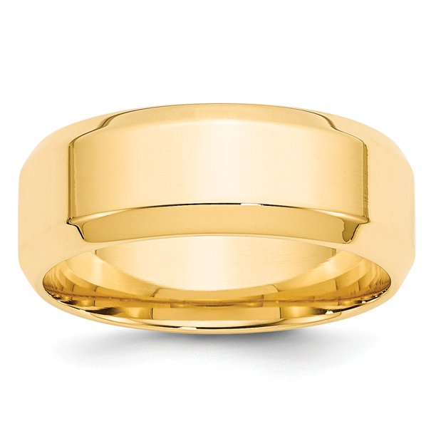 14K Yellow Gold Ring Band Wedding Beveled Comfort 8mm Bevel Edge Fit Size 13.5