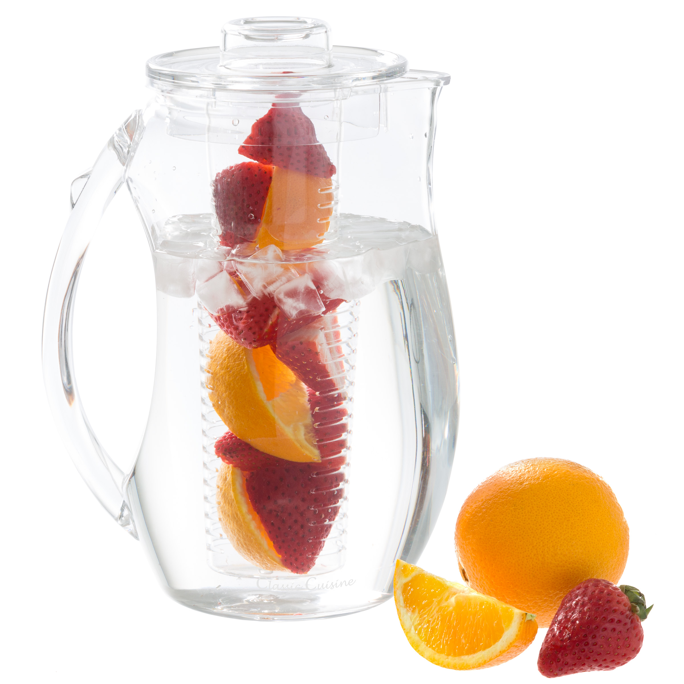 Infusion Pitcher- 96oz. Acrylic Pitcher with Removable Fruit Infusion Tube for Flavored Water, Juice, Lemonade, Punch and More by Classic Cuisine