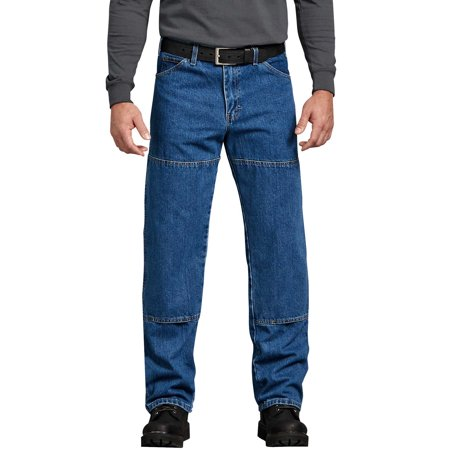 Dickies Men's Relaxed Straight Fit Double Knee Denim 6-Pocket Jeans - Stone Washed 40x30