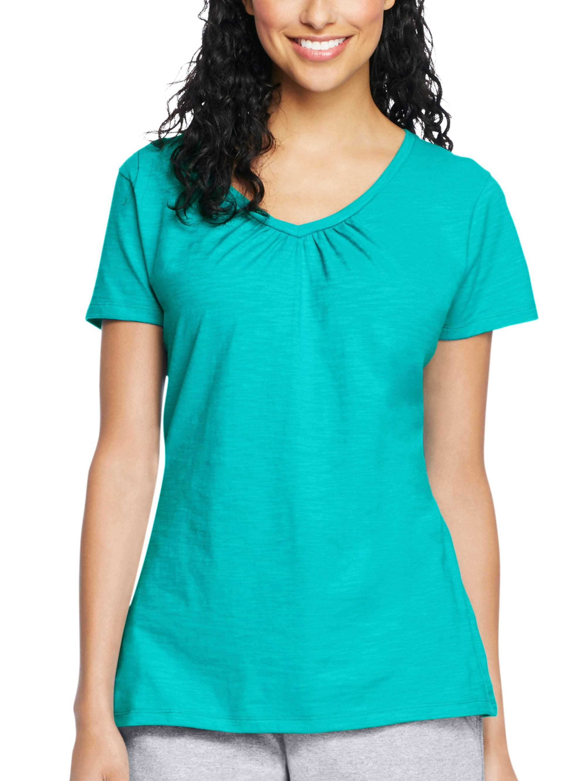 a29d903212f Hanes - Women s Slub Jersey Shirred V-Neck T Shirt - Walmart.com