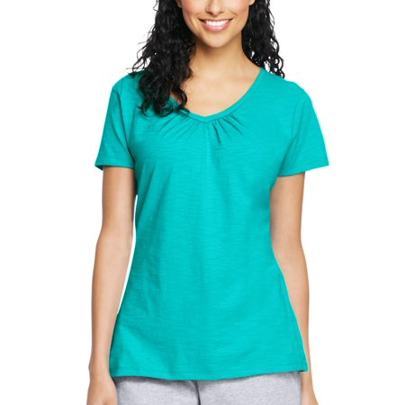 Women's Slub Jersey Shirred V-Neck T Shirt ()