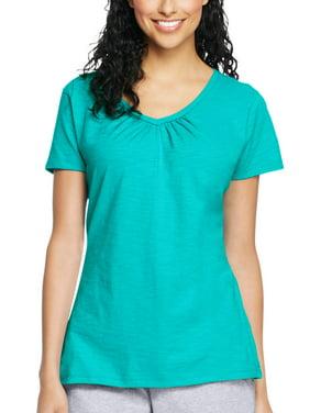 36b93d57 Product Image Women's Slub Jersey Shirred V-Neck T Shirt