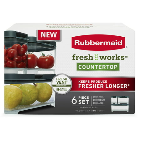 Rubbermaid Freshworks Countertop Produce Saver Small, Medium & Large Container Set, Clear/Grey