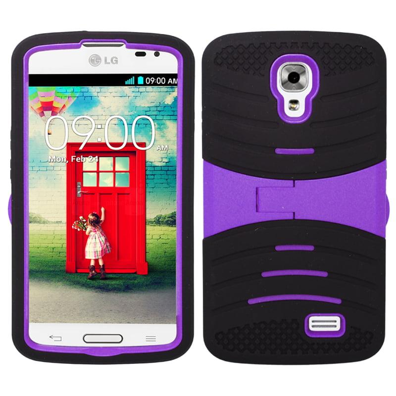 For LG Access LTE L31'Äè / LG F70 (StraightTalk) - UCASE Cover w/ Kickstand and Screen Installed - Black/Purple UCASE