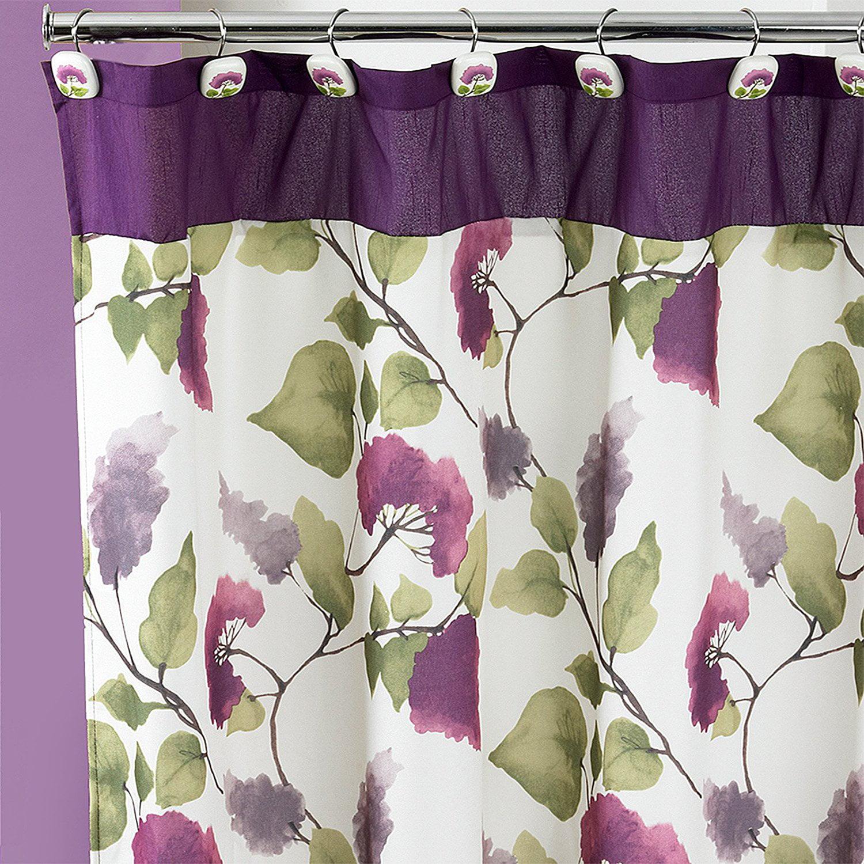 "Jasmine Shower Curtain, Plum, 100% polyester Size: 70"" x 72"" By Popular Bath,USA - Walmart.com"