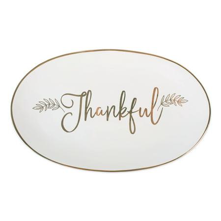 DII Thankful Platter for Thanksgiving or Christmas Dinner for Appetizers, Desserts, Turkey, or Ham Dinner Fish Platter