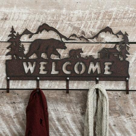 Bear Metal Art Rustic Wall Hooks - Wilderness Decor