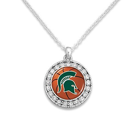 Michigan State Spartans Silver Tone Basketball Logo Charm - Ball Necklaces