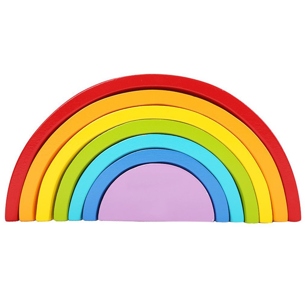 7 Colors/Set Wooden Building Blocks Rainbow Baby Early Education Learning Toy Toys Giftss 7 colors