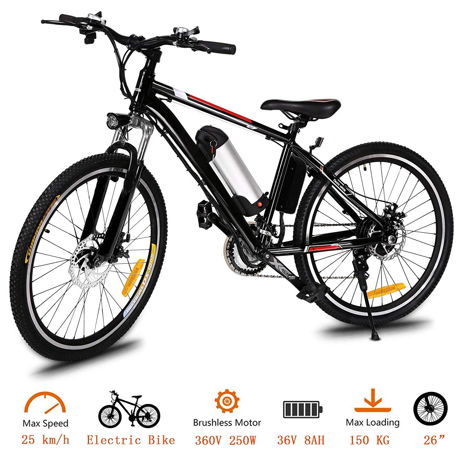 "ANCHEER Electric Bike 26"" 36V Bicycle Electric Power Mountain Bike For Adults Or Men Bicycle with Lithium-Ion Battery"