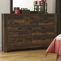 Ashley Furniture Quinden 7 Drawer Wood Dresser in Dark Brown