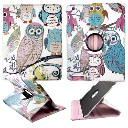 Gold Pink Owl Apple Ipad 2 / 3 / 4 PU Leather Folding Tablet 360 Rotating Case Cover Attractive Hard Phone Case Snap-on Cover Rubberized Touch Faceplates