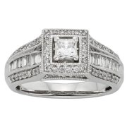 Sofia  10k White Gold 1ct TDW Diamond Halo Engagement Ring