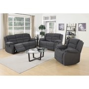 Us Pride Furniture Dallas Contemporary 3 Piece Fabric Reclining Sofa Set Blue Grey