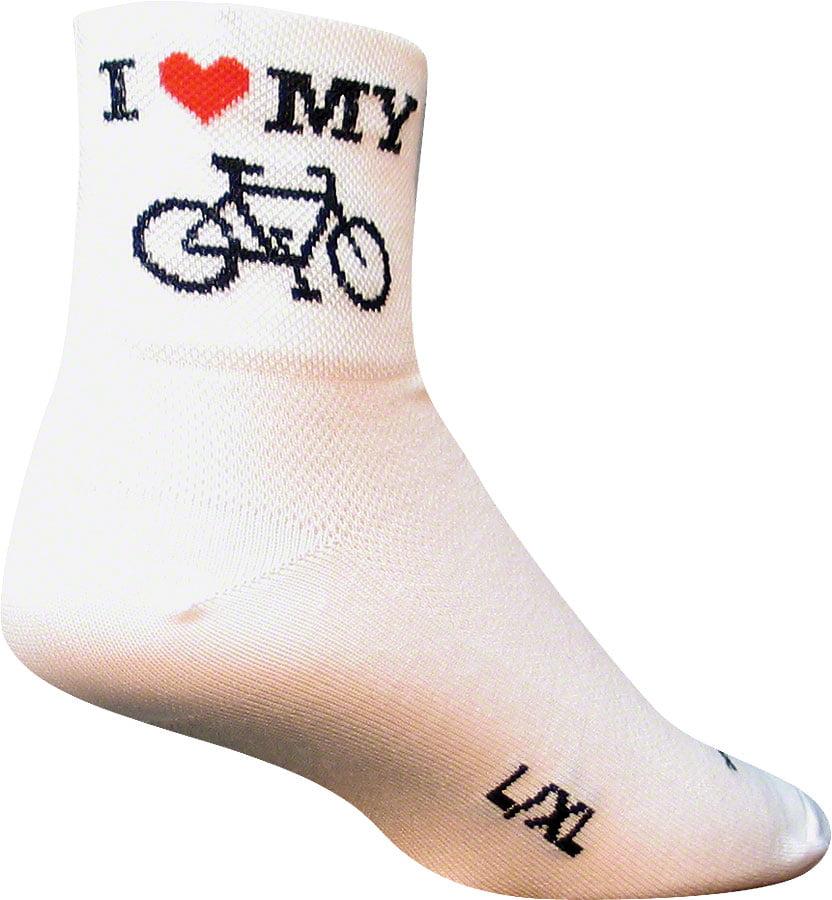 Classic I Heart My Bike Sock: White SM/MD