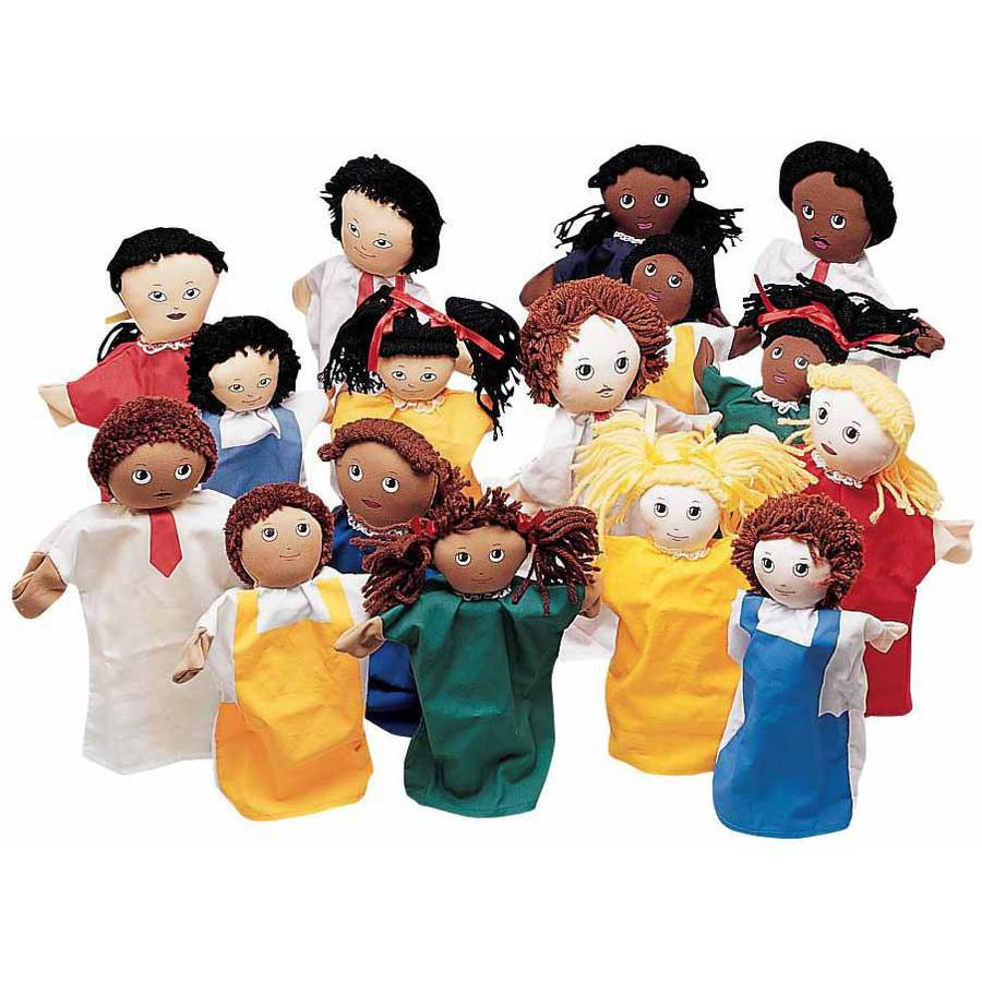 "Childcraft Multi Ethnic Family Puppets, 9"", Set of 16"