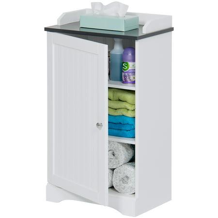 Best Choice Products Modern Contemporary Bathroom Floor Storage Organizer Cabinet w/ 3 Shelves, Versatile Door - White