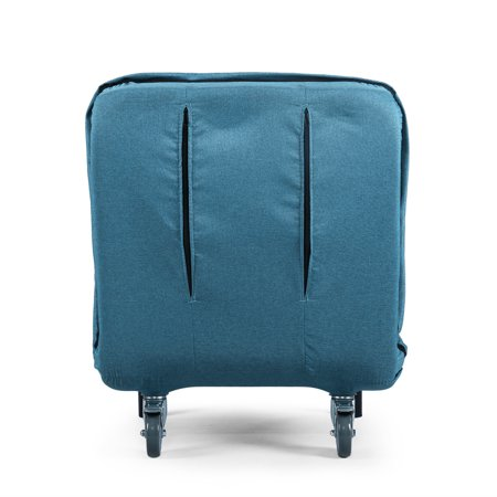Jaxpety Convertible Sofa Bed Sleeper Chair 5 Position Folding Arm Chair with Pillow Blue
