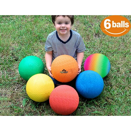 ToysOpoly Playground Balls 8.5 inch (Set of 6) Kickball for Kids and Adults - Official Size for Handball, Camps, Picnic, Church & School + Free Pump & Mesh Bag