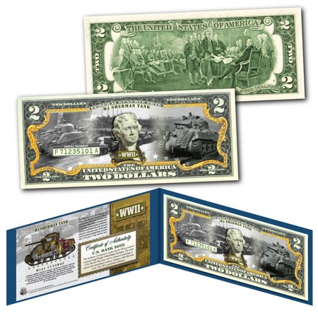 M4 SHERMAN TANK World War II Official Genuine Legal Tender U.S. $2 Bill - (Sherman Turret)