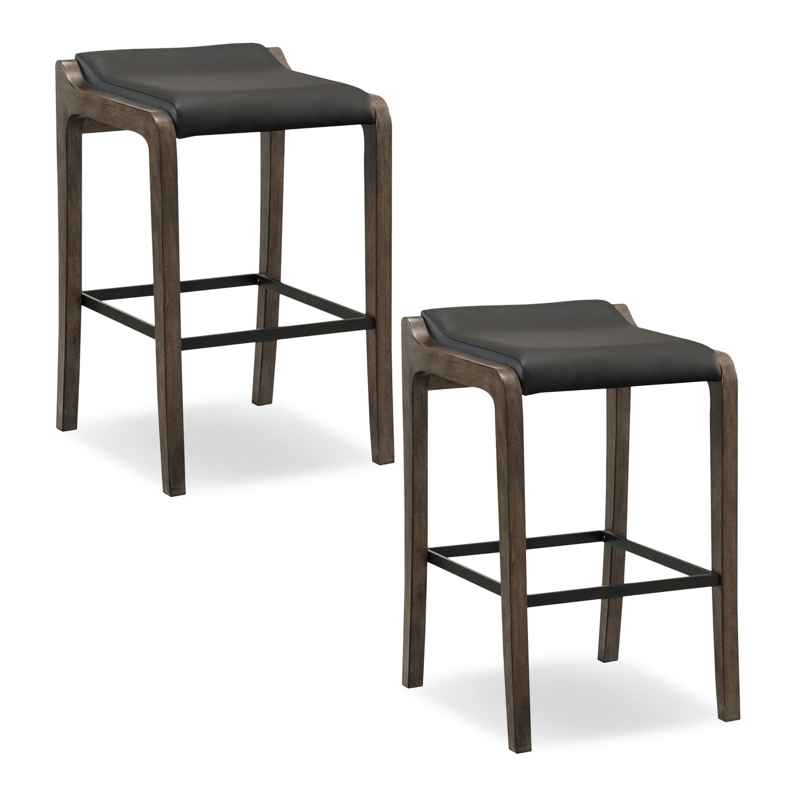 Leick Home Graystone Wood Fastback Bar Height Stool with Faux Leather Seat, Set of 2, Multiple Colors