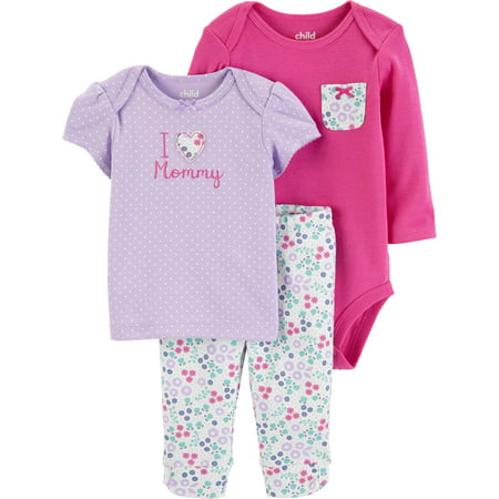 Child of Mine by Carter's Long Sleeve Bodysuit, T-Shirt & Pants, 3-Piece Outfit Set (Baby Girls)