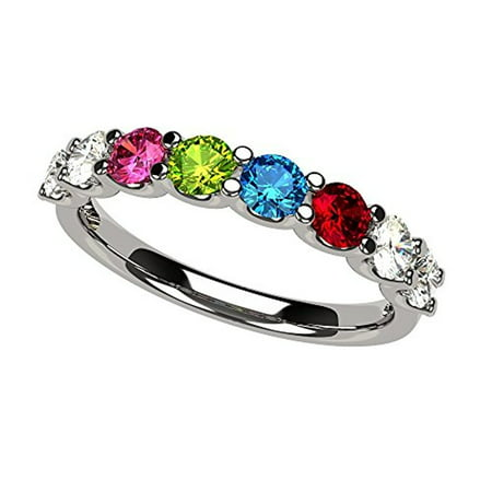 U'r Family Ring 1 to 9 Simulated Birthstones in Sterling Silver - Size 4 - Rings In Bulk