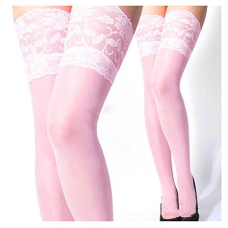 Sexy Womens Lady Lace Top Silicone Band Stay Up Thigh High Stockings Pantyhose (Lace Top Thigh High Pantyhose)