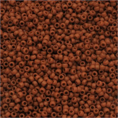 Toho Round Seed Beads 15/0 #46LF 'Opaque Frosted Terra Cotta' 8g