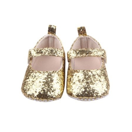 Funcee Baby Girl Sequins Soft Bottom Shoes First Walkers Infant Soft Sole Shoes](Black And Gold Sequin Shoes)