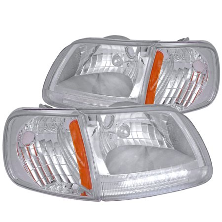 - Spec-D Tuning For 1997-2003 Ford F150/250 Expedition Crystal Chrome Led Headlights + Clear Corner Lamps (Left+Right) 1997 1998 1999 2000 2001 2002 2003