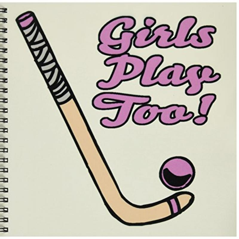 3dRose db_116321_1 Girls Play Too Pink Field Hockey Stick and Ball Sports Design-Drawing... by