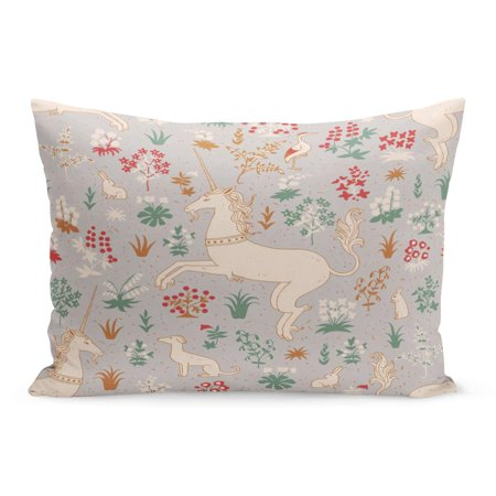 ECCOT Aged Morris Vintage Unicorn in Magic Forest Line William Pillowcase Pillow Cover Cushion Case 20x30 inch - Unicorn In Forest