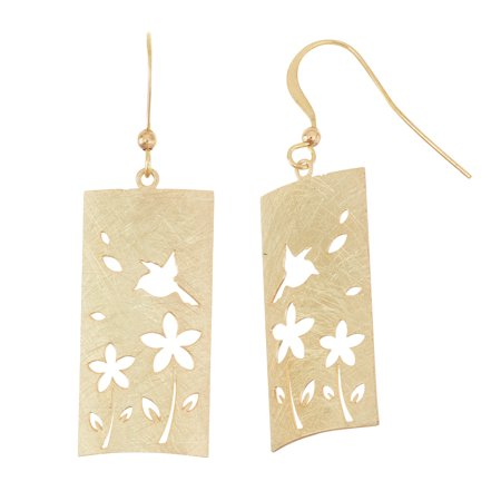 X & O 14KT Gold Plated Scratched 15mm x 30mm Curved Rectangular Shape Stamped Flower and Bird Pattern Dangle Earring