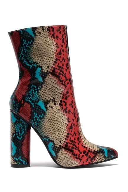 Cape Robbin BOAS Multicolor Faux Snake Pointy Toe Mid Calf Chunky Heel Boot