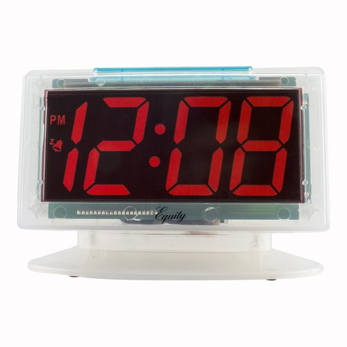 "La Crosse Equity 30040 Clear 1.8"" LED Table Alarm Clock, Red"