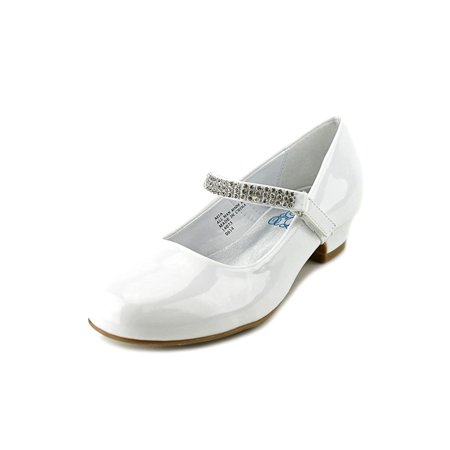 "Dempsey Marie Girls 1"" Low Heel Dress Shoe with Rhinestone Strap in Ivory, White, or Black"