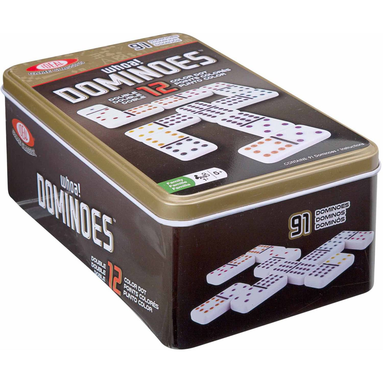 Ideal Double 12-Color Dot Dominoes in Tin