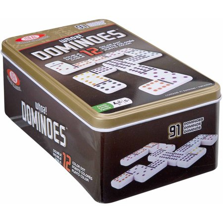 Ideal Double 12 Color Dot Dominoes In Tin
