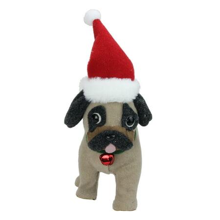 13.25 Plush Brown and Gray Pug Dog with Santa Hat Christmas Decoration - image 1 de 1