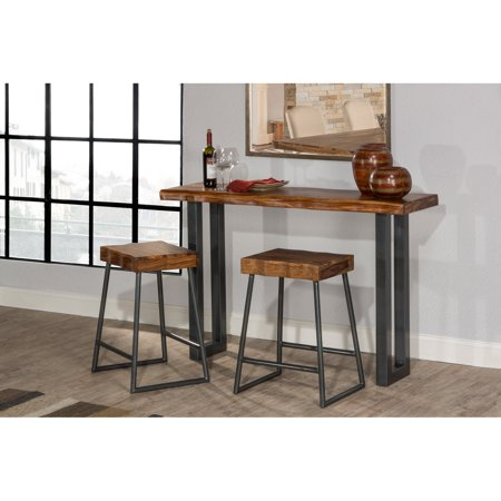 Hilale Furniture Emerson Sofa Table Pub With Set Of 2 Counter Stools