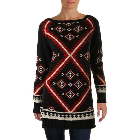 New  4556-2 Ralph Lauren Womens Black Red Geometric Boatneck Tunic Sweater PM $155