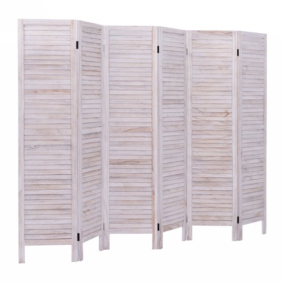 Costway 6 Panel Room Divider Furniture Classic Venetian Wooden Slat Home 67 In Tall