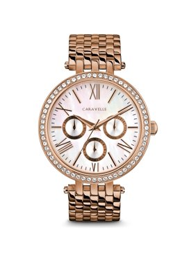Caravelle Designed By Bulova Women's Rose Gold-Tone Stainless Steel Multifunction Crystal Watch 38mm