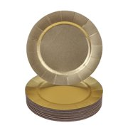 DISPOSABLE ROUND CHARGER PLATES - 20pc (Glitz - Gold)