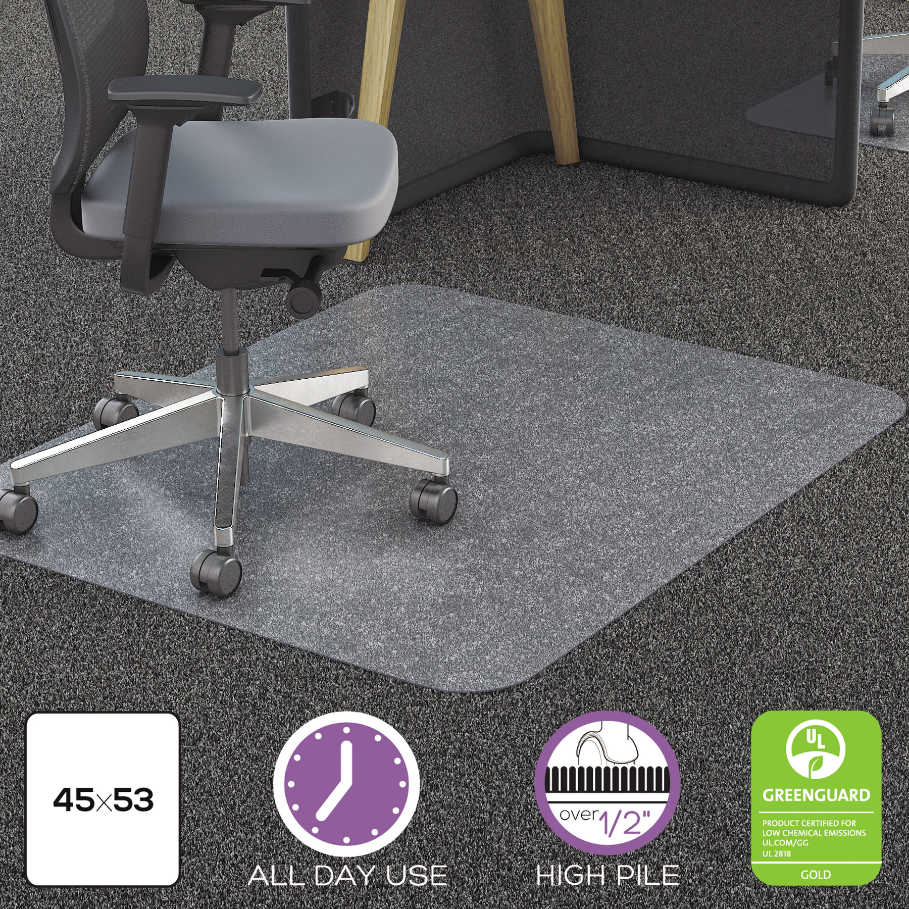 Deflecto 45 x 53 Chair Mat for High Pile Carpet, Rectangular