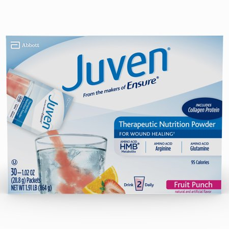 Juven Therapeutic Nutrition Drink Mix Powder for Wound Healing, Including Collagen Protein, Fruit Punch, 30