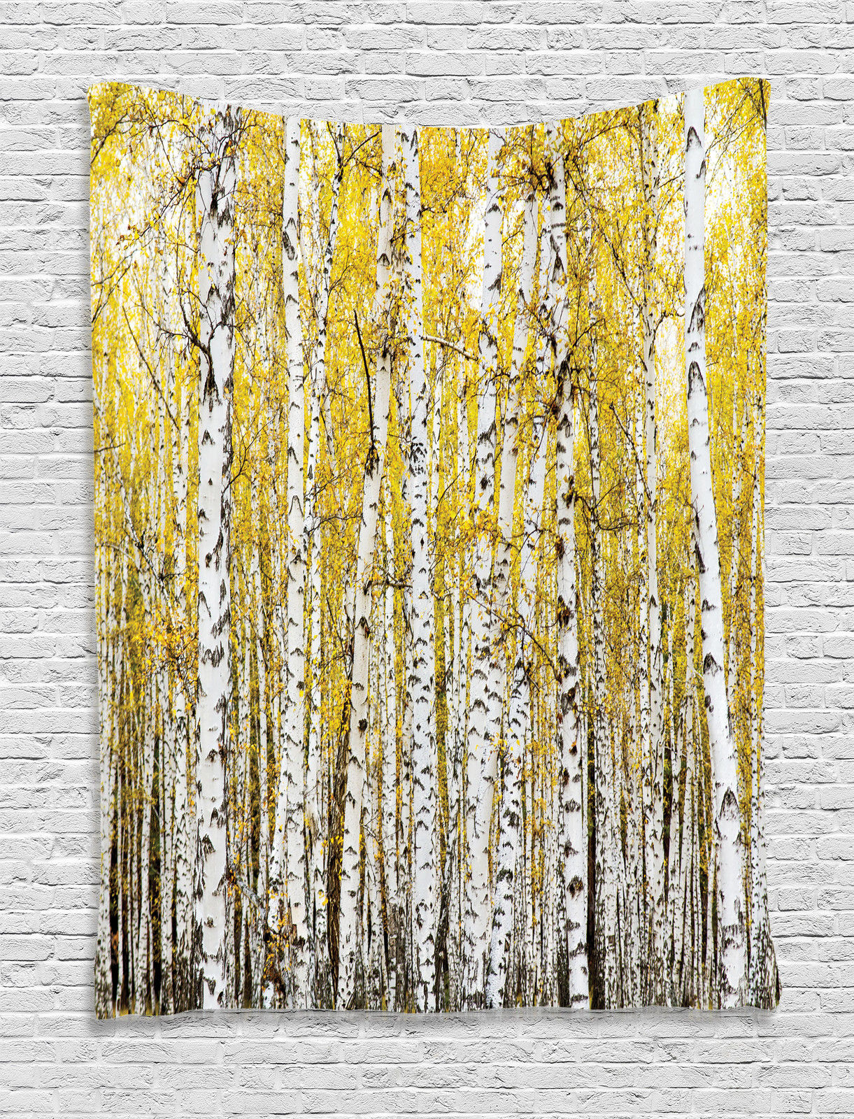 Farm House Decor Wall Hanging Tapestry, Autumn Birch Forest Golden Leaves Woodland October Seasonal Nature Picture,... by Kozmos